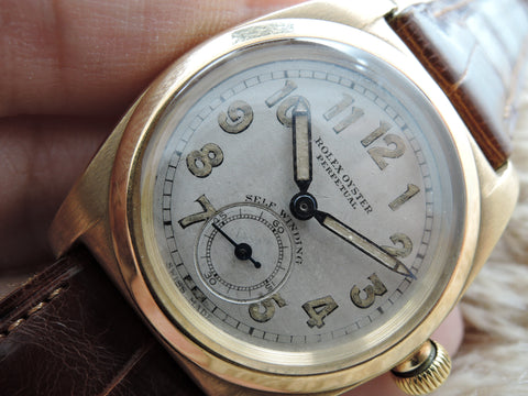 1945 Rolex BUBBLEBACK 3131 14K Yellow Gold with Arabic Numerals and Sub-Seconds