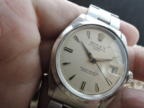 1967 Rolex OYSTER DATE 1500 Original Cream Dial with Arrowhead Markers Box and Paper