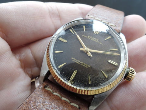 [1961] Rolex OYSTER PERPETUAL 1005 Original Tropical Gilt with Full Documents