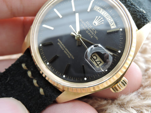1974 Rolex DAY-DATE 1803 18K Gold with Original Matt Black Dial (3 Hallmarks)