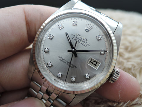 1971 Rolex DATEJUST 1601 SS Silver Diamond Dial with Folded Jubilee