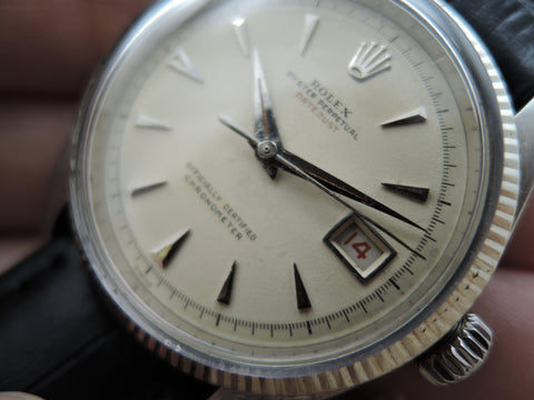 "1953 Rolex DATEJUST 6305 1 Ovettone Bubbleback with Creamy ""RED"" Datejust Dial"