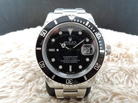 2002 Rolex SUBMARINER 16610 Black Dial with Black Bezel