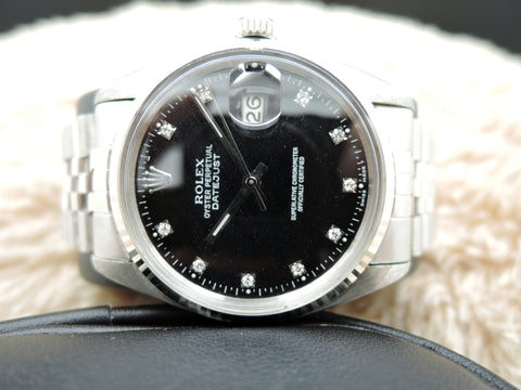 1979 Rolex DATEJUST 16014 Stainless Steel Black Diamond Dial