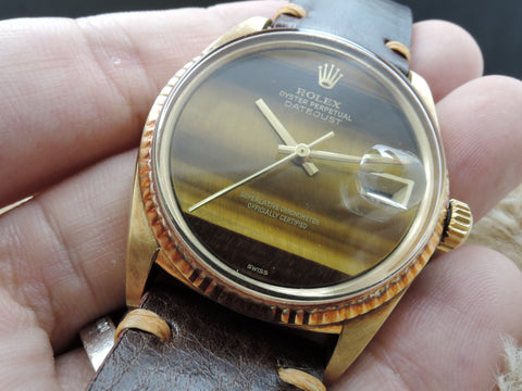 1970 Rolex DATEJUST 1601 18K YG with Original Tiger Eye Dial