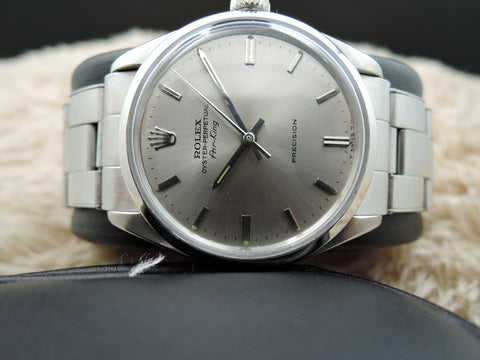 1962 Rolex AIR KING 5500 Original Light Grey Dial with Rivet Band