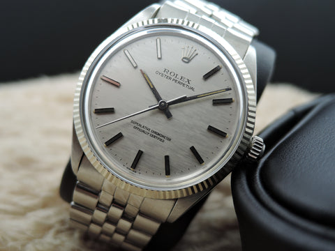 1970 Rolex OYSTER PERPETUAL 1005 Original Silver Linen Dial with Fluted Bezel and Jubilee