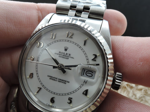 1987 Rolex DATEJUST 16014 SS Original White Enamel Arabic Dial with Paper