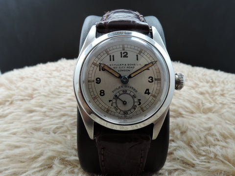 [1942] Rolex 4220 Oyster with Art Deco Quartered Two-Tone Dial
