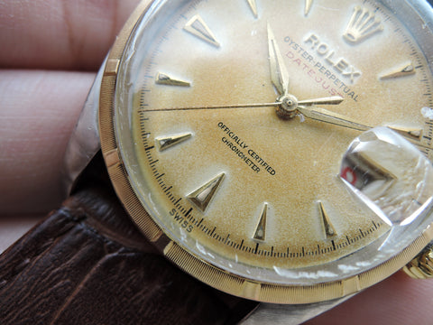"1953 Rolex DATEJUST 6304 Ovettone Bubbleback with Tropical ""RED"" Datejust Dial"
