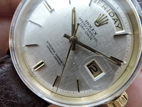 1967 Rolex DAY-DATE 1803 18K Gold with Original Silver Texture Dial