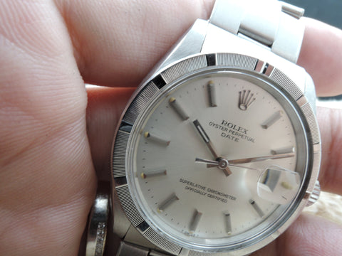 1964 Rolex OYSTER DATE 1501 with Engine Turned Bezel and Original Silver Dial