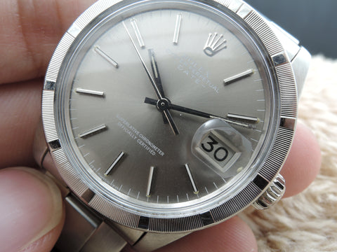 1978 Rolex OYSTER DATE 1501 with Engine Turned Bezel and Original Grey Dial