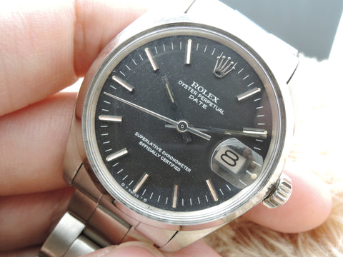 1977 Rolex OYSTER DATE 1500 Original Matt Black SIGMA Dial with Solid Oyster Band