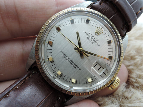 1967 Rolex OYSTER DATE 1505 Original Silver Dial with SQUARE Markers RARE