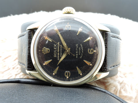 "1956 Rolex OYSTER PERPETUAL 6594 ""Meritus"" with Black Honeycomb Dial"