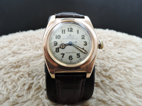 1945 Rolex BUBBLEBACK 3131 14K Pink Gold with Arabic Numerals