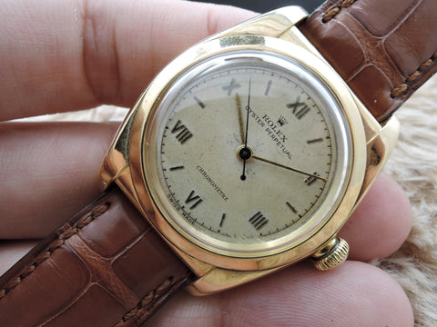 1946 Rolex BUBBLEBACK 3131 14K Yellow Gold with Raised Roman Dial