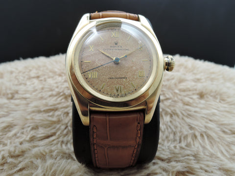 1947 Rolex BUBBLEBACK 3131 14K Yellow Gold with TROPICAL Raised Roman Dial