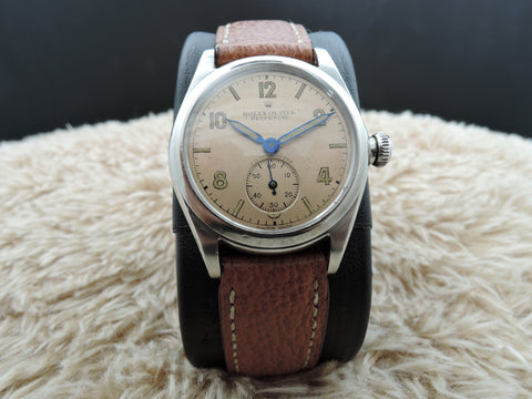 1942 Rolex Bubbleback 3767 Salmon Arabic Dial with Blued Pencil Hands