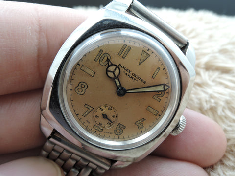 "1942 Rolex BUBBLEBACK 3139 Oyster Military ""ARMY"" with Salmon Arabic Dial"