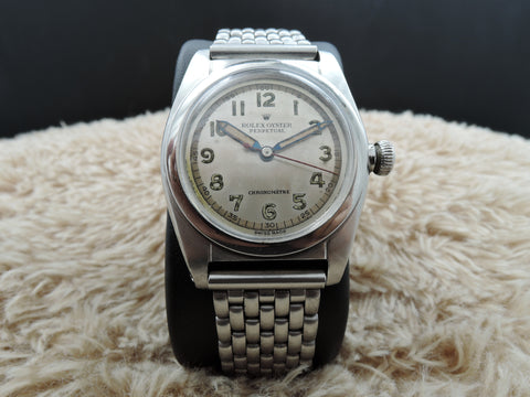 1946 Rolex BUBBLEBACK 2940 with Silver Arabic Dial and Pencil Hands