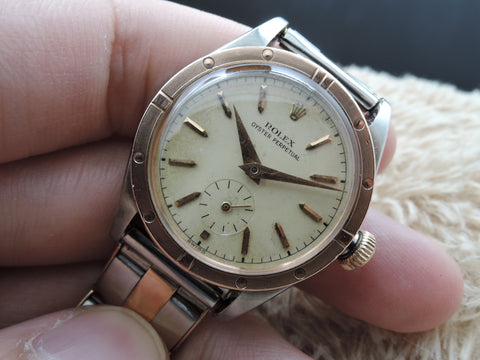 1940 Rolex Bubbleback 3796 2-Tone Creamy Dial with Pink Gold Bezel