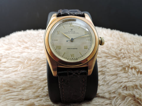 1947 Rolex BUBBLEBACK 3131 14K YG with White Roman Numeral Dial