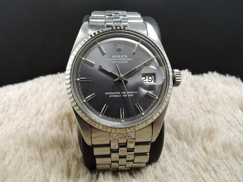 1976 Rolex DATEJUST 1601 SS ORIGINAL Grey Dial with Box and Paper