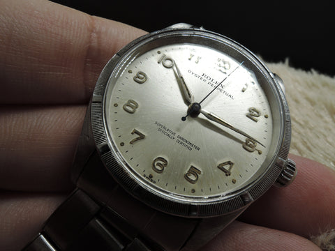 1962 Rolex OYSTER PERPETUAL 1007 Silver Arabic Dial Engine Turned Bezel