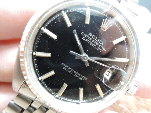 1967 Rolex DATEJUST 1601 SS Original Glossy Black Dial with Jubilee Band