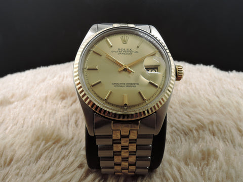 1972 Rolex DATEJUST 1601 2-Tone SS/18k Gold ORIGINAL Gold Dial with Paper