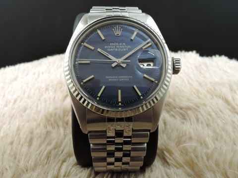 1970 Rolex DATEJUST 1601 SS with ORIGINAL Blue Texture Dial with Paper