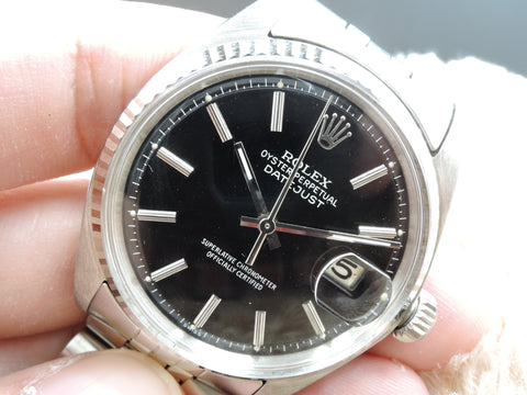 1970 Rolex DATEJUST 1601 SS Glossy Black Dial with Jubilee Band