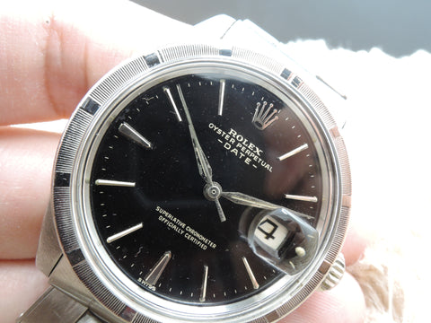 1963 Rolex OYSTER DATE 1501 with Original Gilt Dial and Engine Turned Bezel