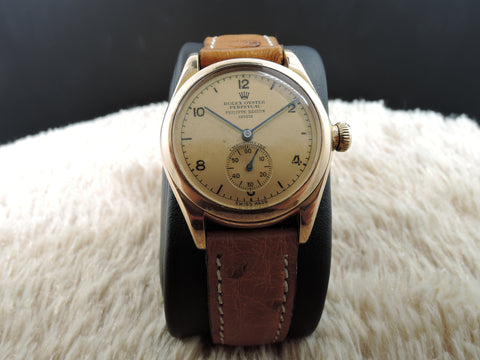 1938 Rolex Bubbleback 3767 18K Pink Gold with Salmon Double Signed Dial