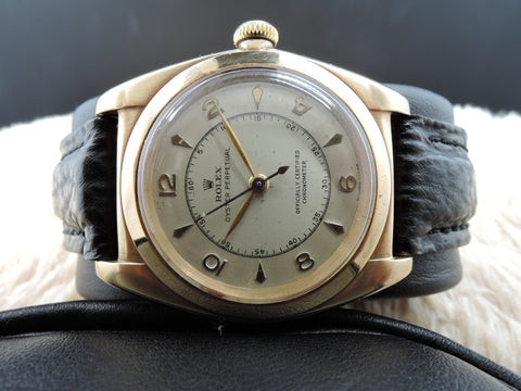 1947 Rolex BUBBLEBACK 3130 14K Yellow Gold with Creamy Arabic Numeral Dial