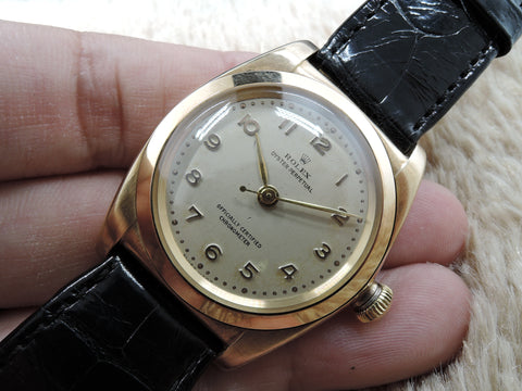 1945 Rolex BUBBLEBACK 3131 14K Yellow Gold with Creamy Raised Arabic Dial