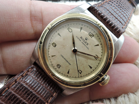 1947 Rolex BUBBLEBACK 2940 2-Tone with Tropical Gold Plated Arabic Dial