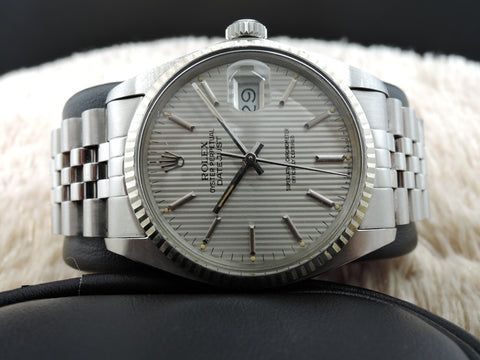 1984 Rolex DATEJUST 16014 Stainless Steel Original Silver Curtain Dial