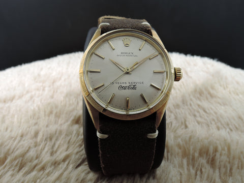 1959 Rolex OYSTER PERPETUAL 1003 14K Yellow Gold Silver Dial Co-Branded with Coca Cola