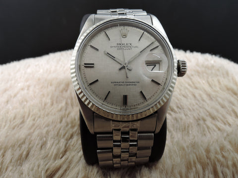 1969 Rolex DATEJUST 1601 SS ORIGINAL Silver Tapestry Dial with Jubilee Band