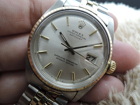 1974 Rolex DATEJUST 1601 2-Tone ORIGINAL Silver SIGMA Dial with Box and Paper
