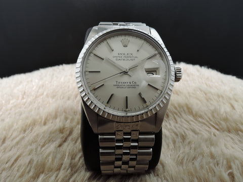 1978 Rolex DATEJUST 16030 Stainless Steel Original TIFFANY Silver Dial