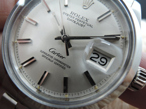 1970 Rolex DATEJUST 1600 SS ORIGINAL Silver Dial Co-Branded with Cartier