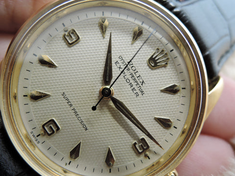 1957 Rolex AIR KING EXPLORER 5506 Gold Plated with 2-Step Honeycomb Dial