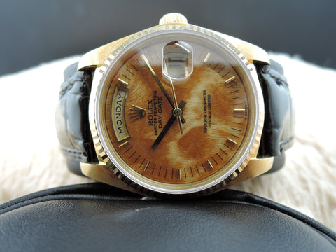 1982 Rolex DAY-DATE 18038 18K Gold with Original Wood Dial and UNPOLISHED case