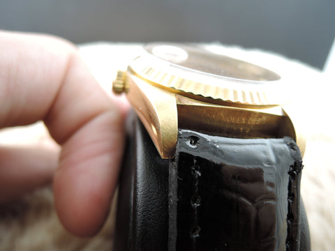 1984 Rolex DAY-DATE 18038 18K Gold with Original Wood Dial and UNPOLISHED case