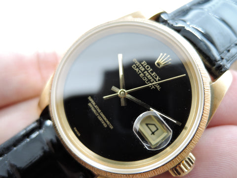 1985 Rolex DATEJUST 16078 18K YG with Original Onyx Dial and Bark Bezel