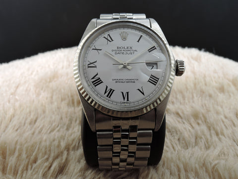 1964 Rolex DATEJUST 1601 SS White Roman Dial with Jubilee Band